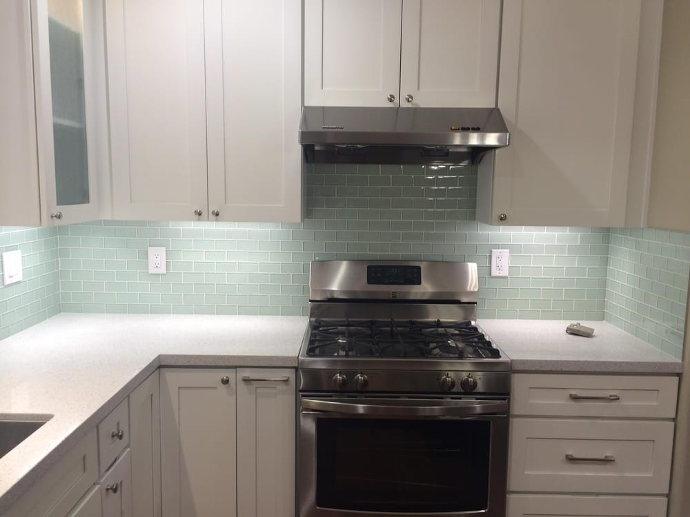 Cream Glass Subway Tile Backsplash