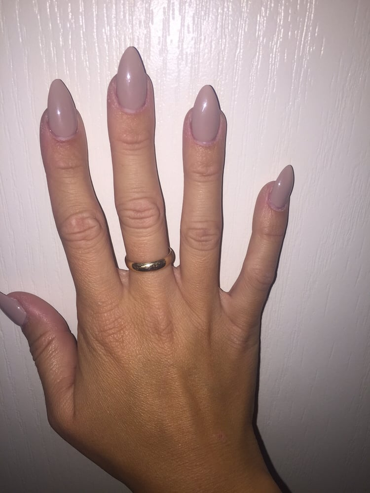 Nude almond shape gel nails. Polish is #27 in the gels - Yelp