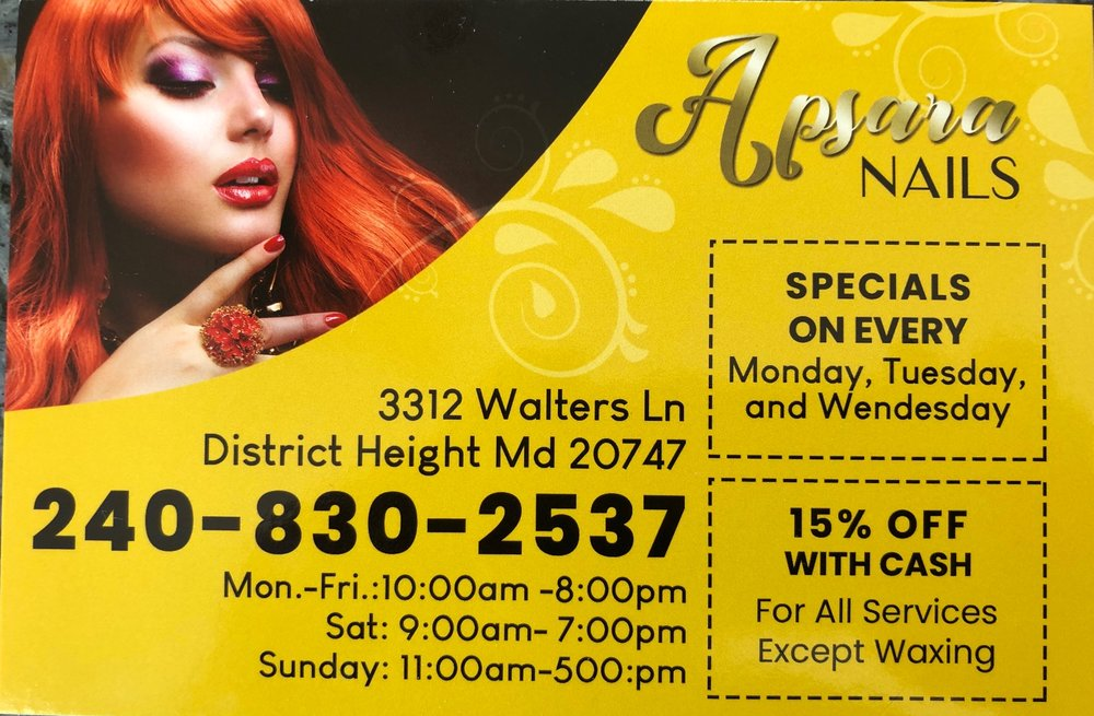 Apsara Nails Spa: 3312 Walters ln, District Heights, MD