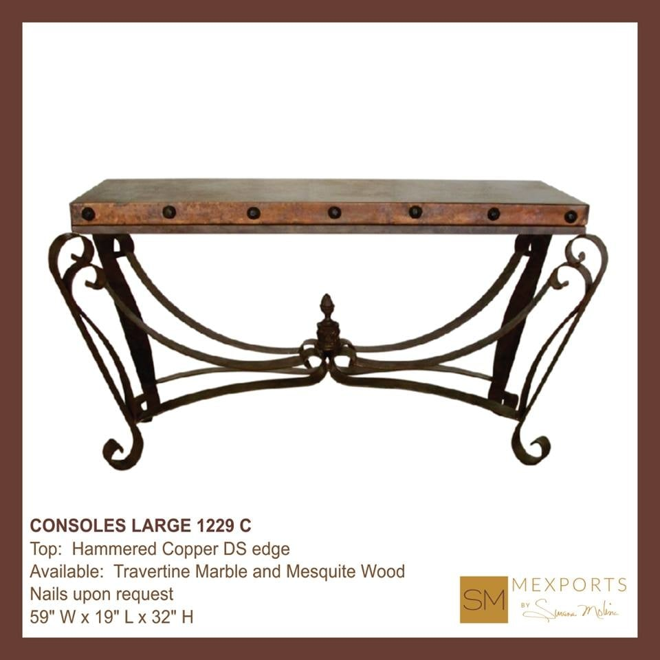 Hammered copper top console with nail accents also - Susana molina ...