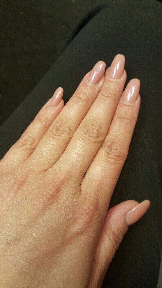 Basic acrylic overlay, coffin shaped nails. OPI bubble ...