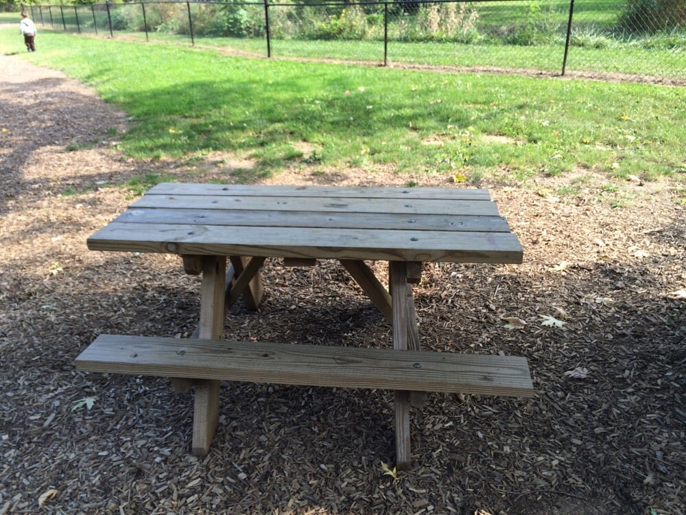 Kid Sized Picnic Table At Fenced In Playground Yelp - Playground picnic table