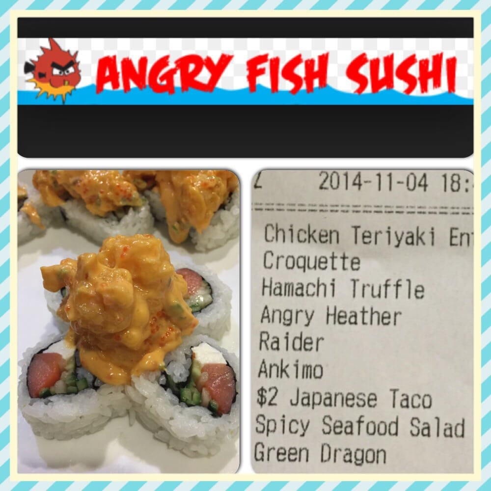 There it is angry heather roll its a must try yelp for Angry fish sushi