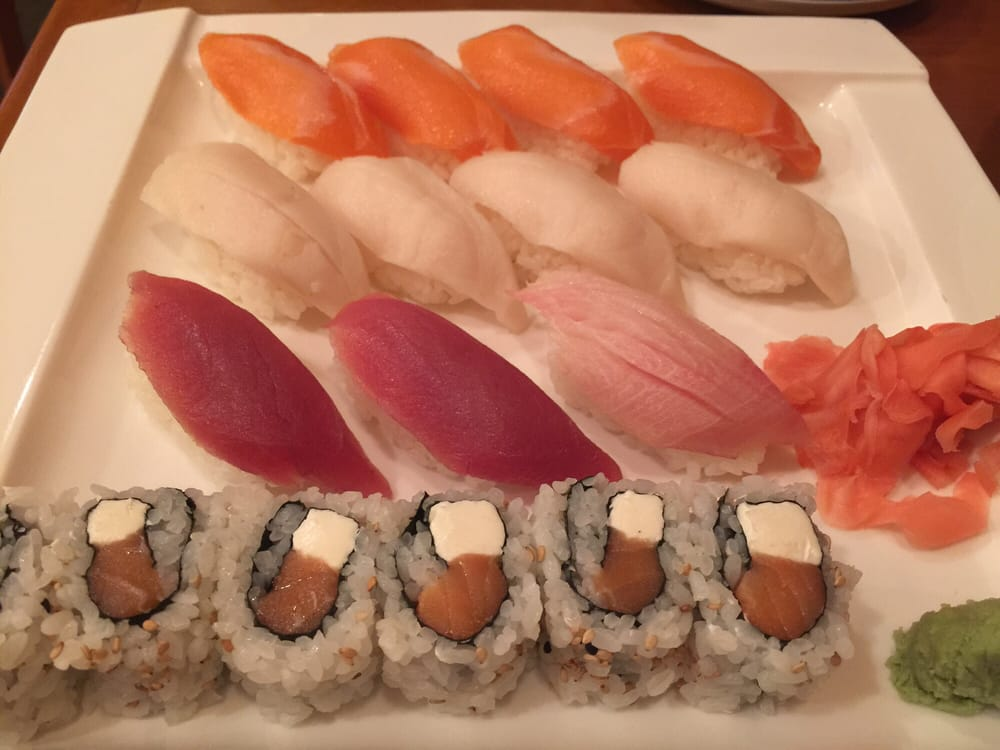 Salmon yellowtail white tuna and tuna sushi and a for Yellowtail fish sushi