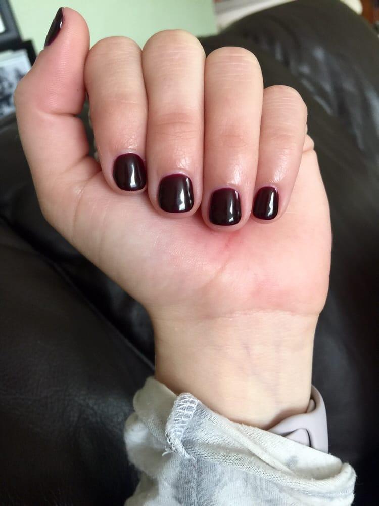 Dark red/maroon gel manicure! Looks great! - Yelp