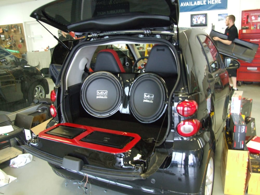 2012 smart car with custom amp rack and custom dual 15. Black Bedroom Furniture Sets. Home Design Ideas