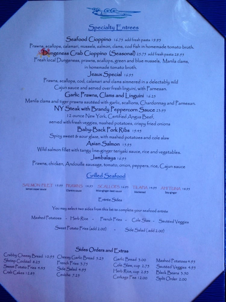 Specialty entrees grilled seafood side orders extras for Flying fish bar and grill
