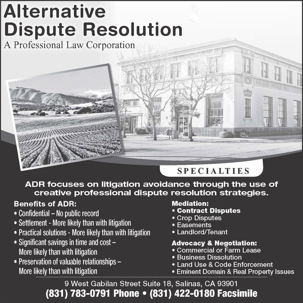 four types of alternative dispute resolution Over the years, various methods of alternative dispute resolution (adr) have been introduced into the construction industry as a means to avoid lengthy and expensive litigation.