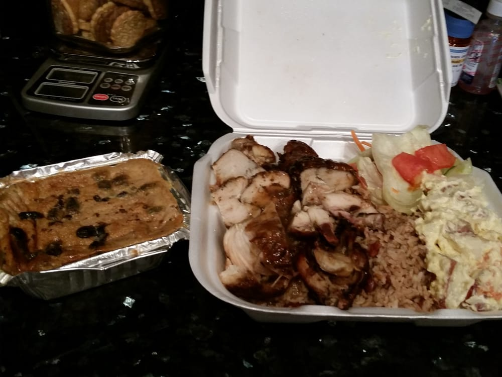 Jerk chicken rice and peas potato salad and bread for Authentic caribbean cuisine