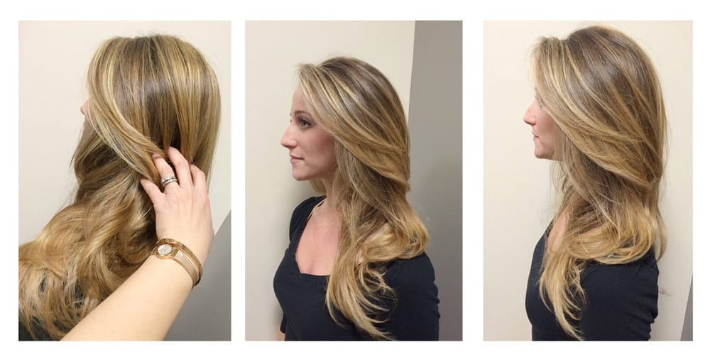 Blonde color using balayage color placement technique ...