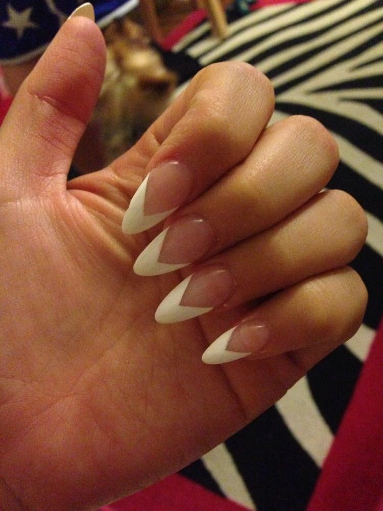 V shape white tip stiletto!! - Yelp