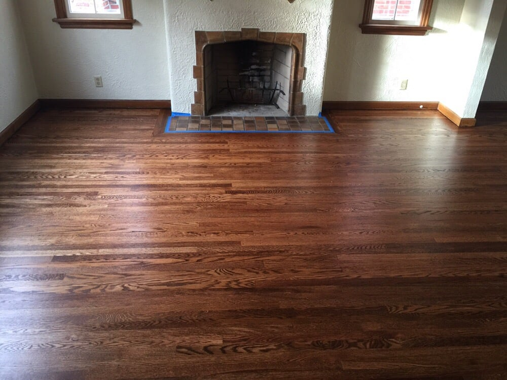top-nailed red oak hardwood. newly refinished with an early