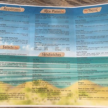 Irie S Island Food Menu