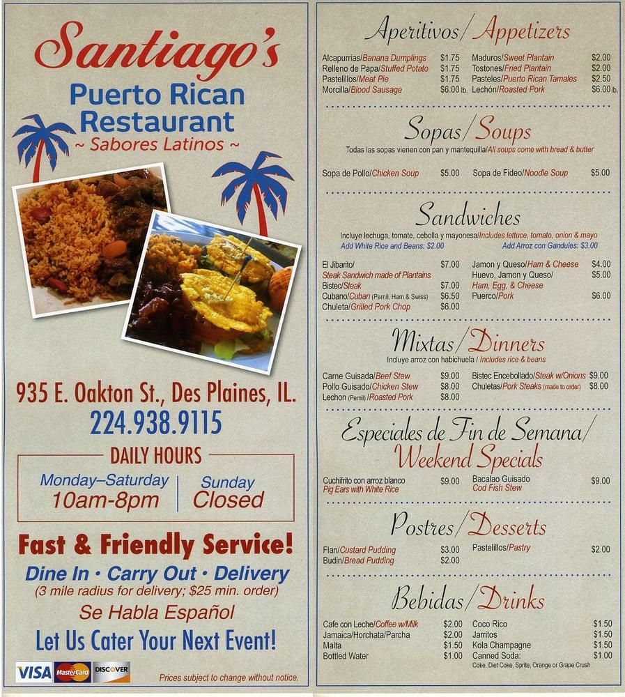 Santiago S Puerto Rican Restaurant Des Plaines Menu