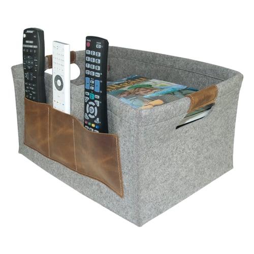 korb aus filz und leder f r zeitschriften holz etc. Black Bedroom Furniture Sets. Home Design Ideas