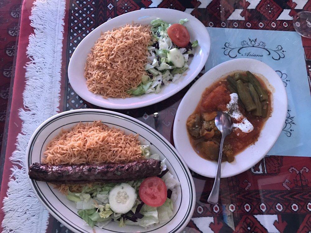 The lamb kebab okra pumpkin curry and eggplant curry for Ariana afghan cuisine