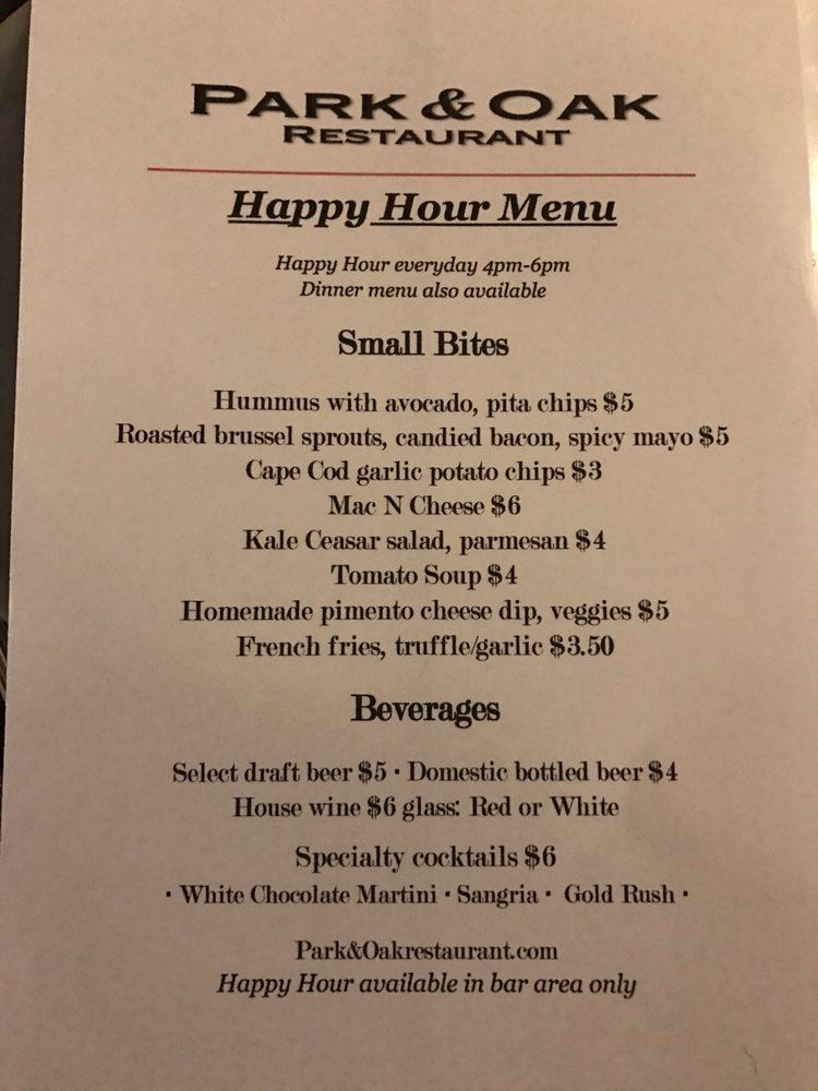 Happy hour menu at Park and Oak Yelp
