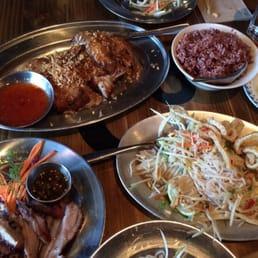 Hat Yai Chicken Brown Rice Everything Papaya Salad And Grilled Pork Shoulders Yelp