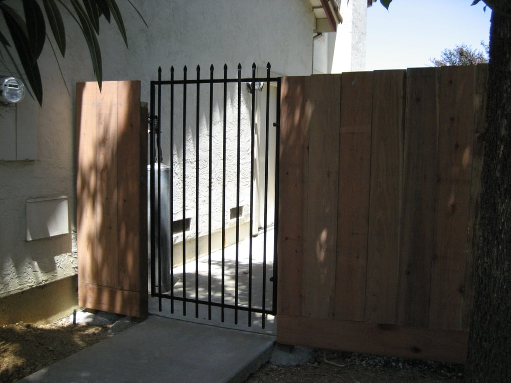 Redwood Fence With Iron Gate Yelp