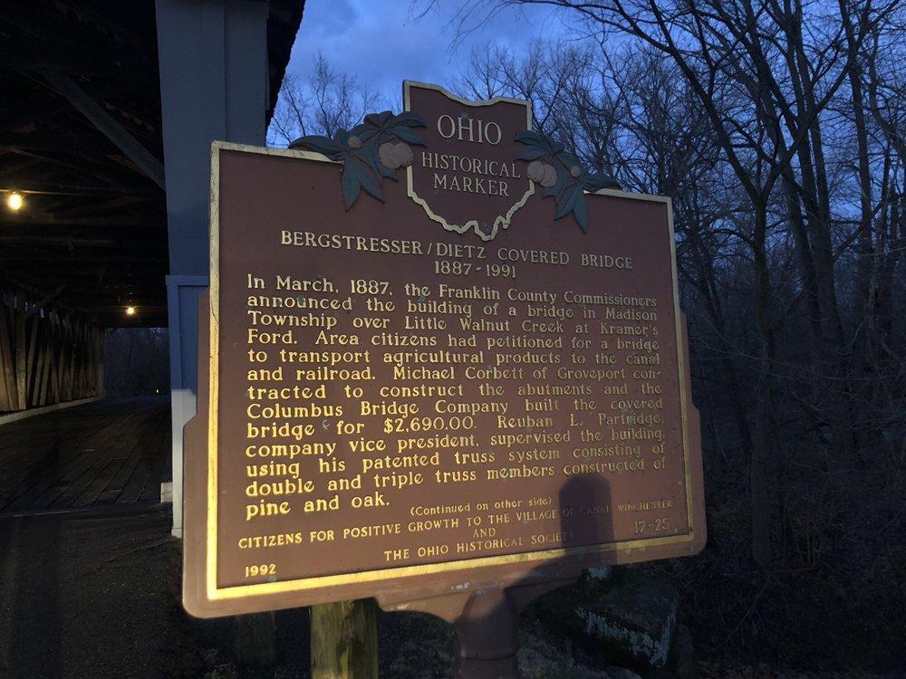 Bergstresser/Dietz Covered Bridge: Ashbrook Rd & Washington St, Canal Winchester, OH