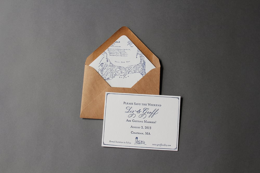 Letterpress Save the Date printed on super heavy 100% cotton paper