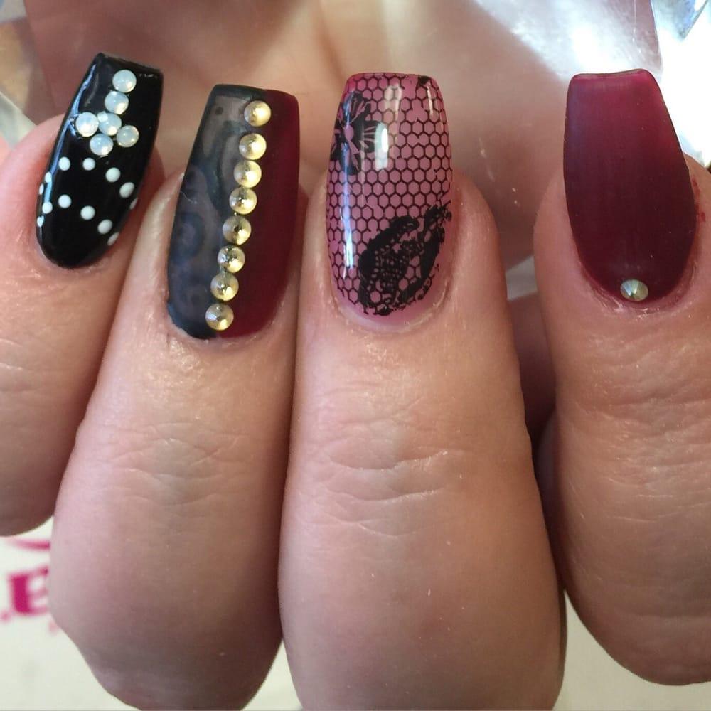 Overlay on natural nails gel matte with lace design n Swarovski ...