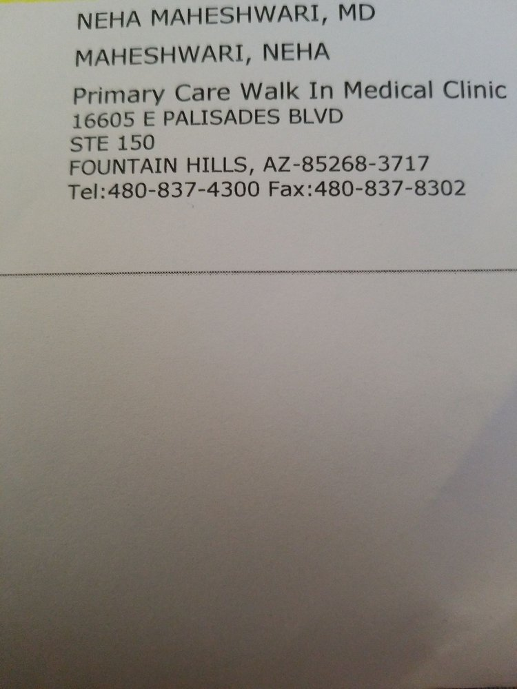 Primary Care Walk-in Medical Clinic: 16605 E Palisades Blvd, Fountain Hills, AZ