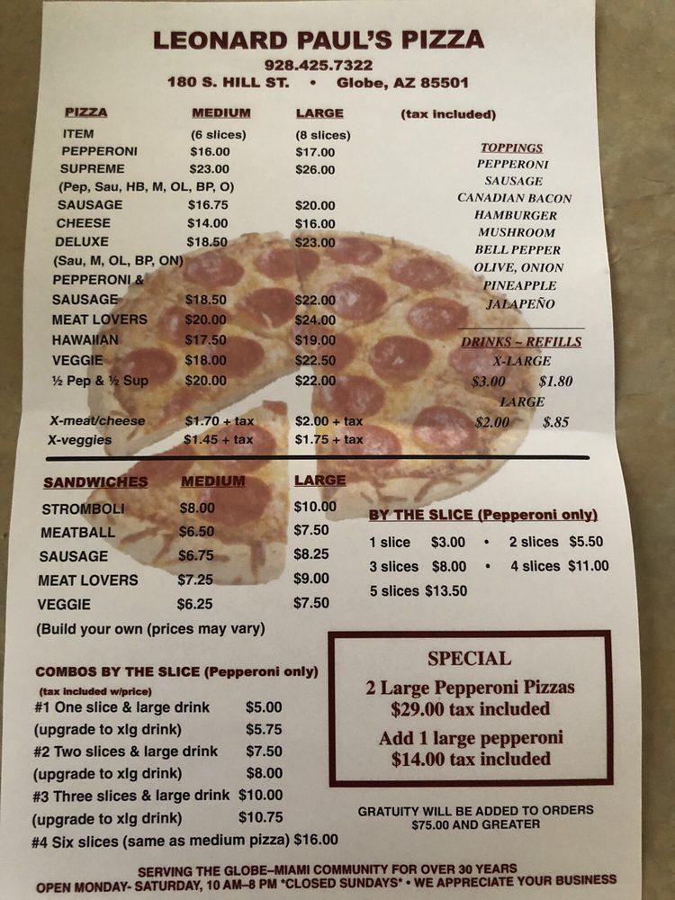 Leonard Paul's Pizza Globe: 180 S Hill St, Globe, AZ