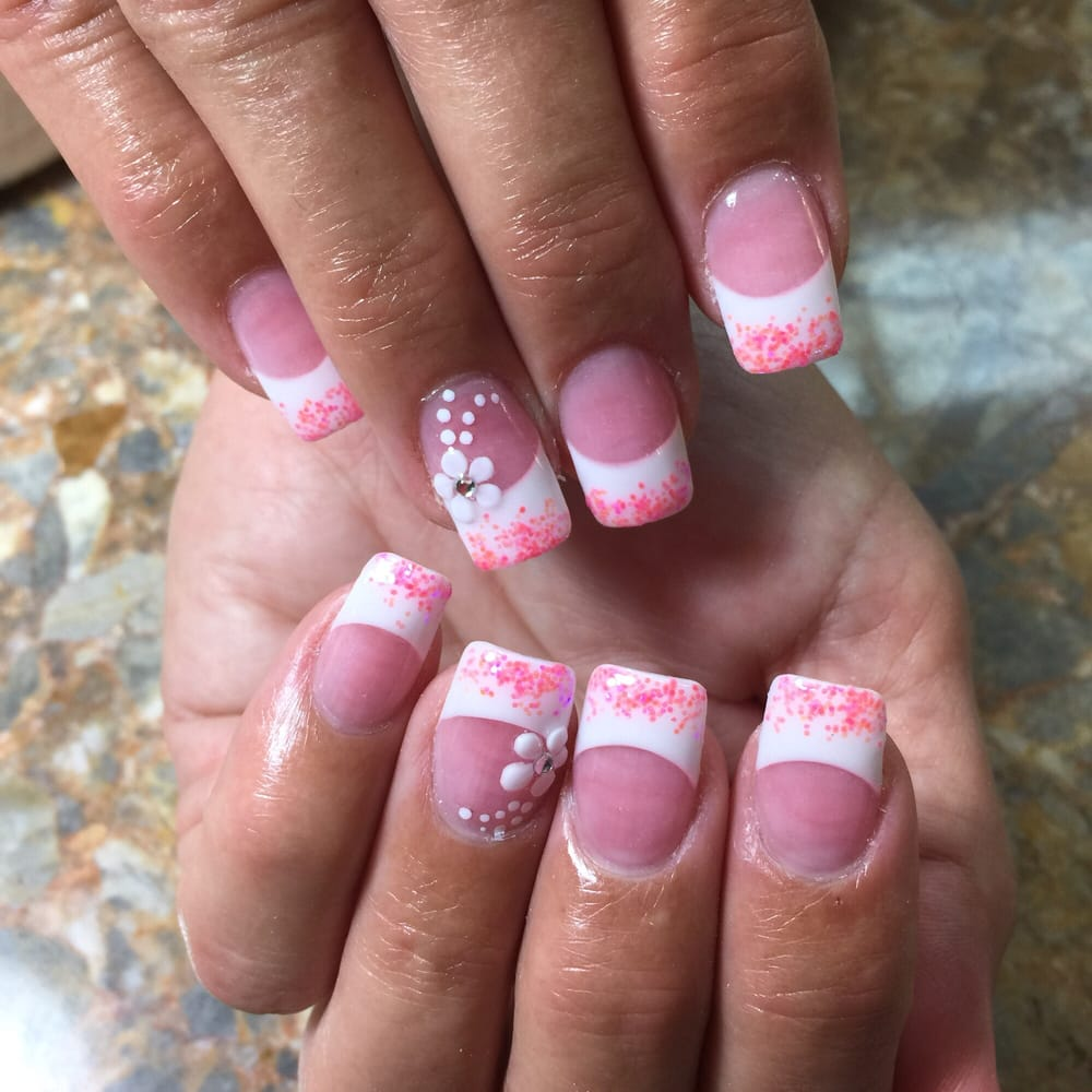 Acrylic nails - pink and white powder with 3D flower design. - Yelp