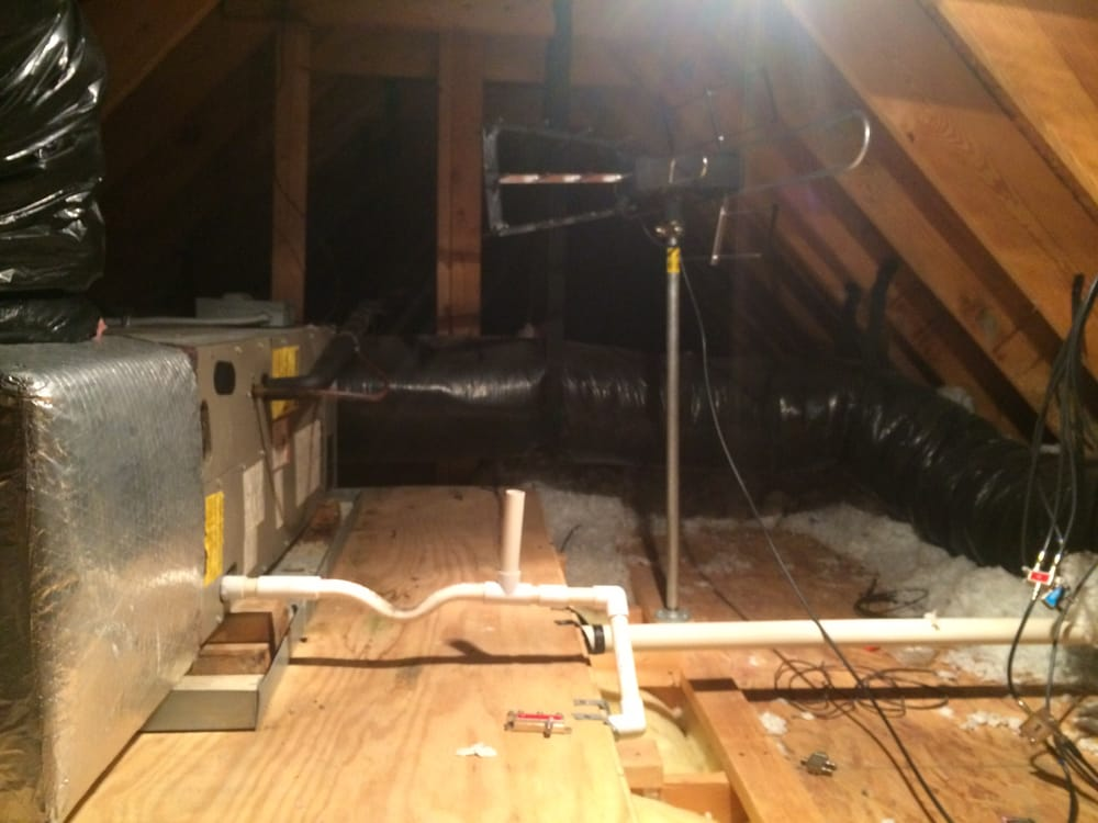 condensate drain for the attic air handling unit of a. Black Bedroom Furniture Sets. Home Design Ideas