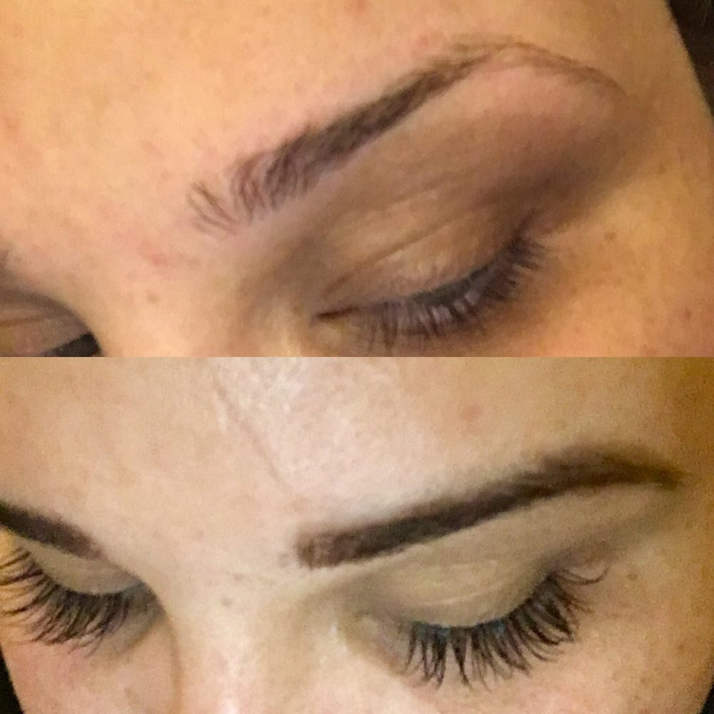 Before Above After Below Eyelash Extensions And Brow Tinting Yelp