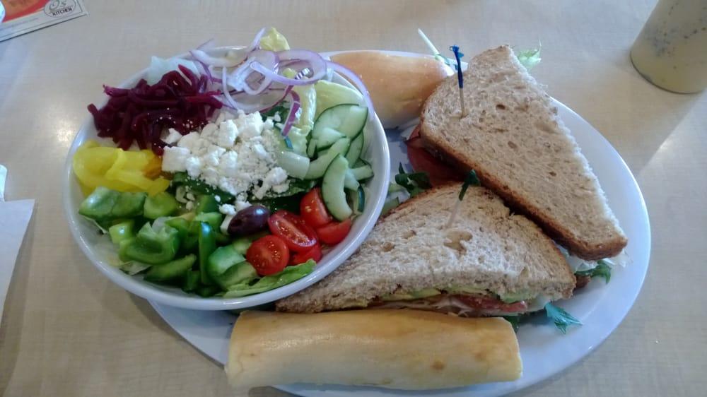 Turkey Avocado Club Combo With A Greek Salad Yelp