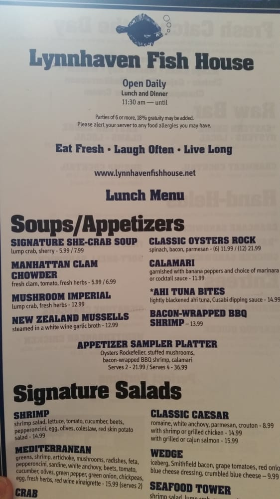 Menu for lunch yelp for Lynnhaven fish house