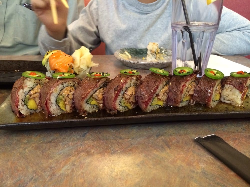 Kobe Beef On Top Spicy Tuna And Mango Inside Roll Yelp