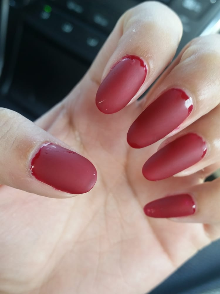 Red matte nails, just the color and no manicure. $12. Worst visit ...
