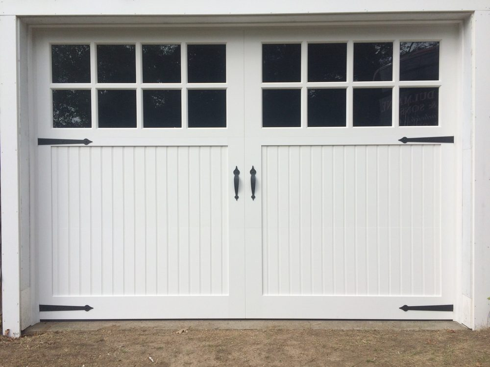 Fimbel maintenance free vinyl carriage house garage door for How big is a garage door