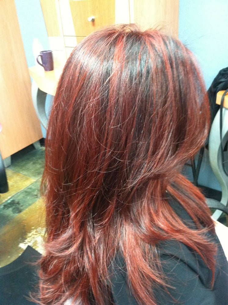 Red with copper highlights/lowlights with a mix of Ombré ...