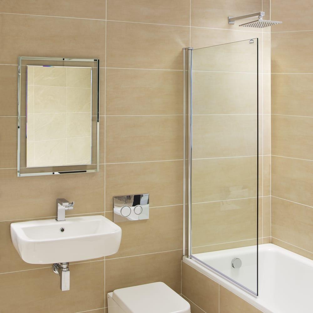 Mirabella fully frameless fixed bath shower screen 8mm for Bathroom heaven