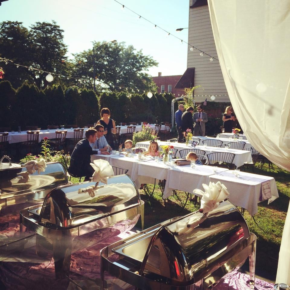Wedding Reception Outside With Buffet Table Along The
