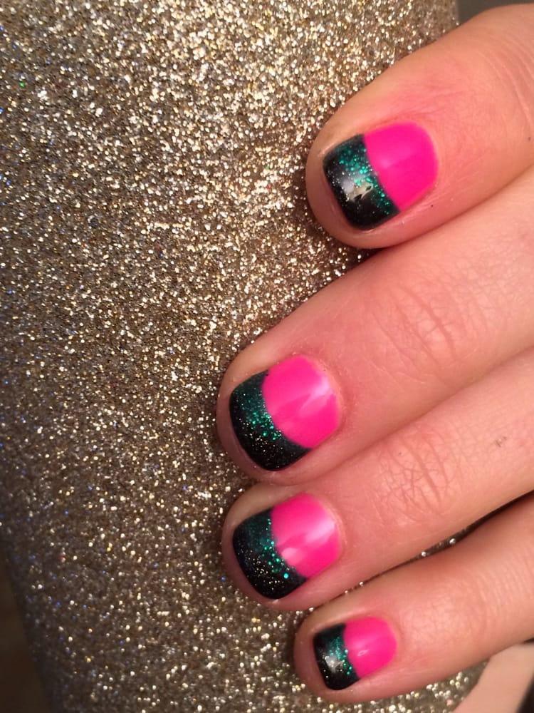 Neon pink nails with black and teal glitter tips. By Lin. - Yelp