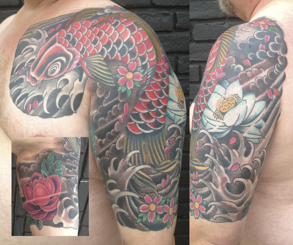 Mike S Koi Sleeve Chest Panel Unfinished Big Jpg 2400 3200: Japanese Style Chest And Half Sleeve Tattoo Of Traditional