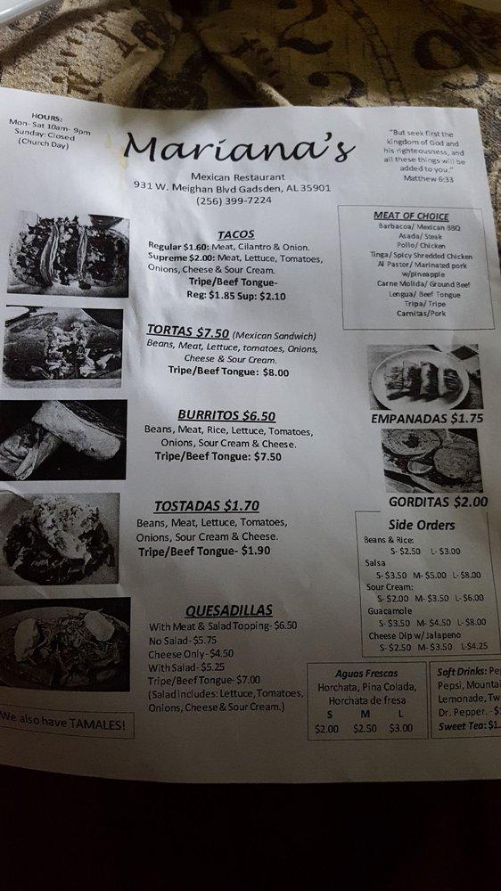 Marianna's Mexican Restaraunt: 931 W Meighan Blvd, Gadsden, AL