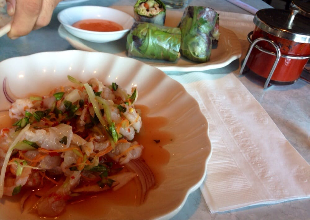 ... Ceviche is absolutely awesome and the spring rolls are , they don't