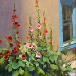 photo of framing concepts albuquerque nm united states hollyhocks a painting