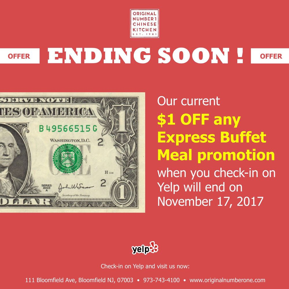 Number 1 Chinese Kitchen: Don't Forget You Can Get A $1 Off Any Express Buffet Meals