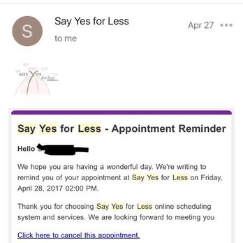 Photo of Say Yes for Less - Potomac, MD, United States. Appointment reminder