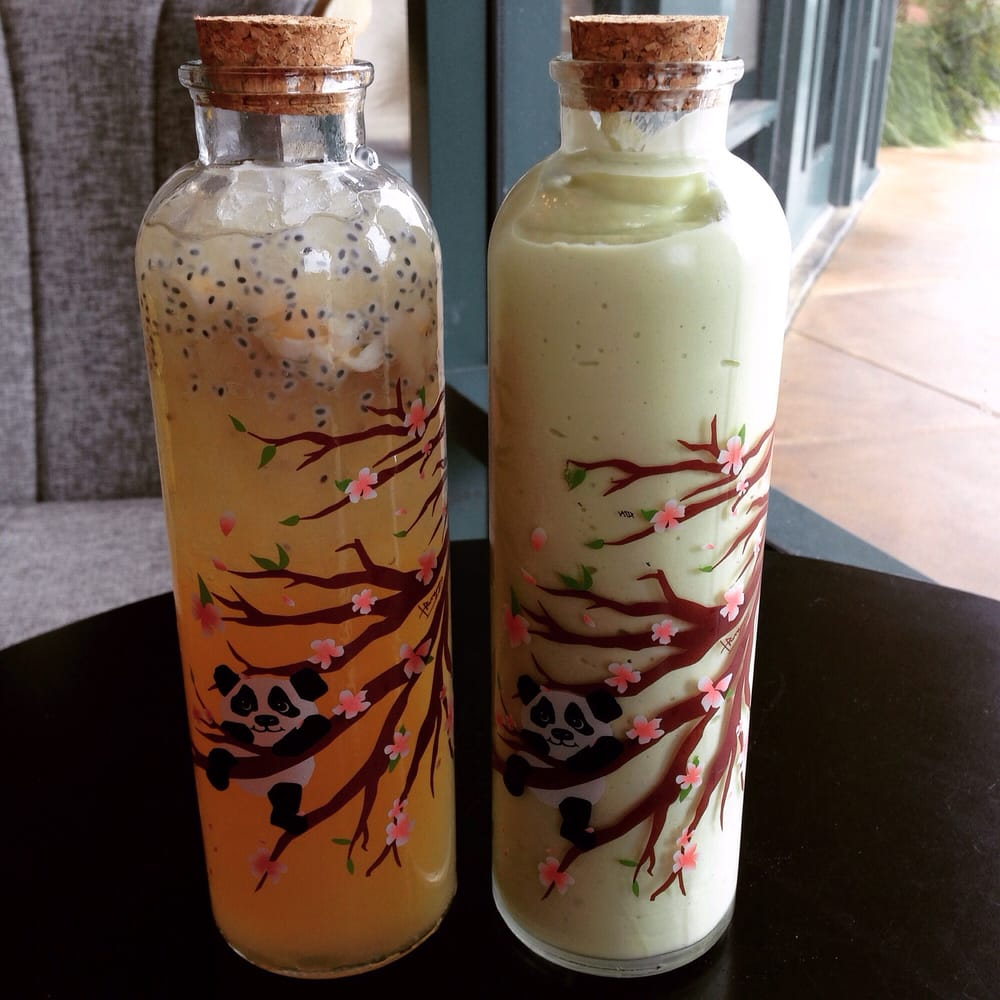 Lychee herbal tea with basil seeds and lychee fruit. Avocado ...