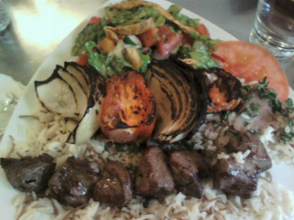 Beef Kabob With Fattoush Salad.