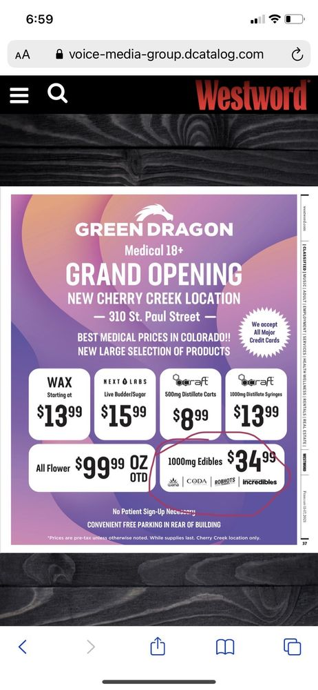 Green Dragon - Cherry Creek: 310 Saint Paul St, Denver, CO