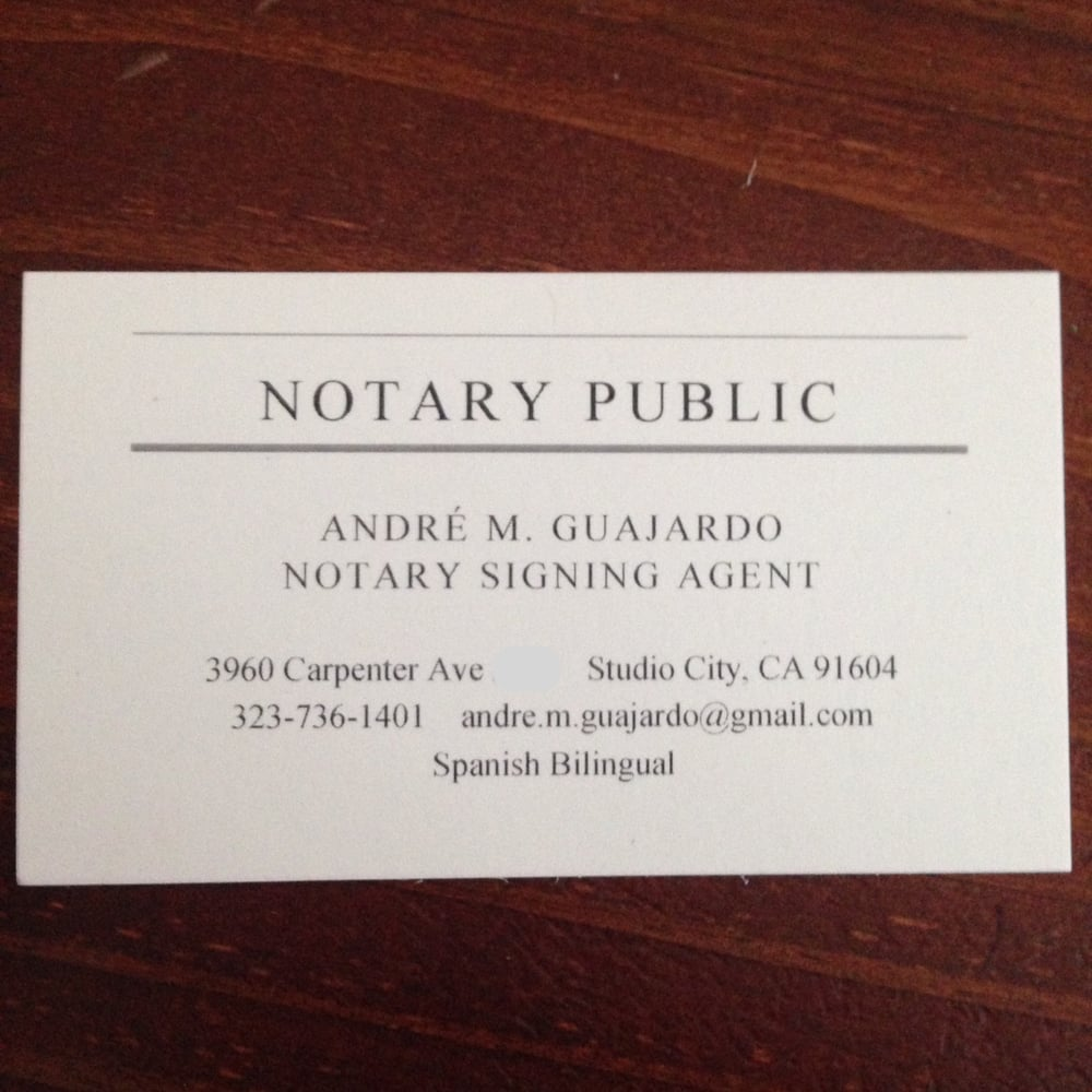 Photo Of Mobile Notary Public Andre M Guajardo Studio City Ca United